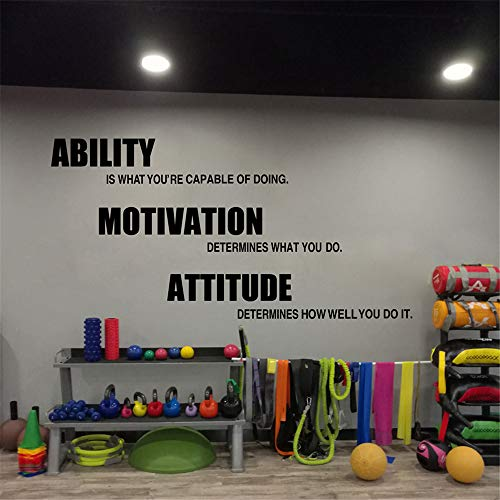 Gym Wandtattoos Vinyl Poster, motivierende Fitness Zitate Wandsticker - Fähigkeit, Motivation, Haltung Gym Decor 244 * 122cm