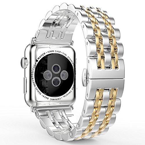 MoKo Armband Kompatibel mit Apple Watch 42 mm Series 3/2 / 1, [Sieben Longines] Edelstahl Wrist Band Uhrband Uhrenarmband Erstatzband für Apple Watch 42mm 2017, Silber & Roségold