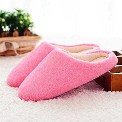 MStar Damen Weicher Hausschuh Hübsche Flache Flauschige Rutschfeste Warm Pantoffel Outdoor/Indoor in 5 Farben Rot