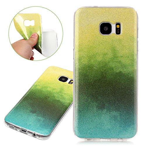 Coque Galaxy S7 Edge, Étui Galaxy S7 Edge, ISAKEN Coque Samsung Galaxy S7 Edge - Étui Housse Téléphone Étui TPU Silicone Souple Coque Ultra Mince Gel Doux Housse Motif Arrière Case Antichoc Doux Durab jaune vert