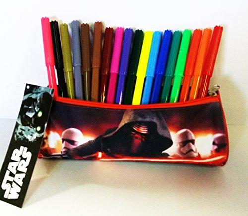 Estuche cilindrico escolar Star Wars 100% polyester, cremallera de metal (20 x 8 x 8 cms) + 18 rotuladores multicolores