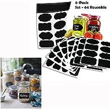 Cisixin 64 pieza Etiquetas adhesivas de pizarra, borrables y totalmente personalizables, Etiquetas reusables para cocina, oficina, jardín etc (Negro)