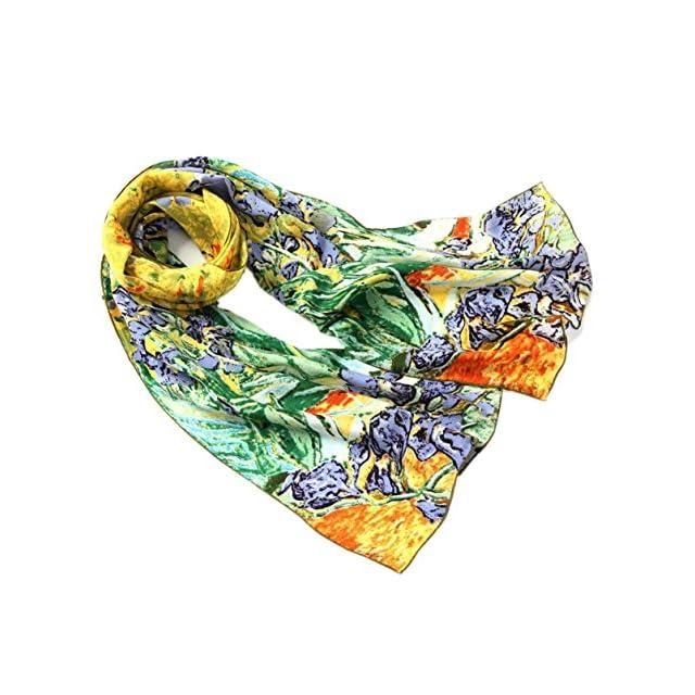 937bc4b3c54 Prettystern P841 - 160cm Foulard Echarpe Soie Art van Gogh Fleurs  Impressionnist - Iris   Schwertlilien ...