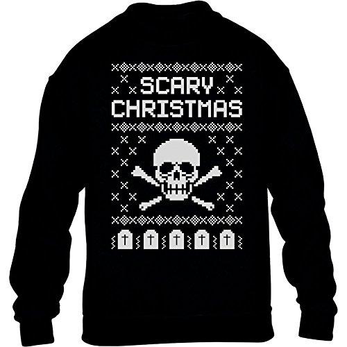 raten Totenkopf Weihnachten Kinder Pullover Sweatshirt S 122/128 Schwarz ()