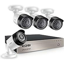 ZOSI Sistema de Cámara Vigilancia 4CH 1080P CCTV Grabador DVR con 4pcs 2.0MP Cámara de
