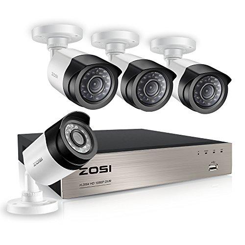 ZOSI CCTV 4CH 1080P HD Video Überwachungssystem 4CH HDMI DVR Recorder plus 4 Außen 2.0MP Überwachungskamera Set onhe HDD, 20M IR Nachtsicht, Wetterfest -