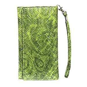 Jo Jo A5 Bali Leather Wallet Universal Pouch Cover Case For LG Optimus L5 E610 Green