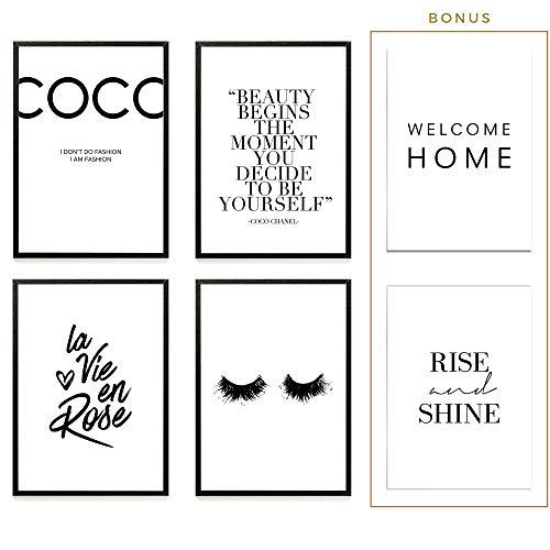 Heimlich® Premium Poster (4 Stück in DIN A4)   Große Auswahl an Motiven im Shop   auch mit Rahmen » Coco Chanel «