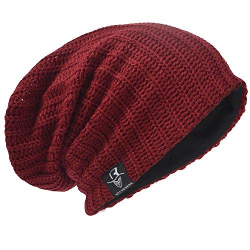 Hommes Bonnets Slouch Beanie Crâne Tricoter Grand Ski Hiver Chapeaux B08
