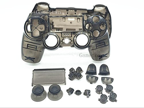 New Ersatz Full Gehäuse Shell Cover Case Schutzhülle (Harte Haut-Kits mit-Set für Sony Playstation 4 PS4 DUALSHOCK 4 Wireless Controller - Transparent Schwarz. - Sony Hard-faceplates