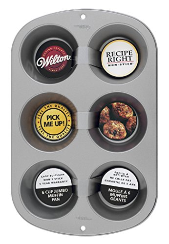 Wilton Recipe Right - Molde para muffin gigantes, 6 cavidades