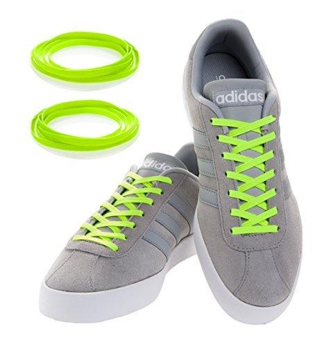 MAXXLACES Flache elastische Schnürsenkel mit einstellbarer Spannung in verschiedenen Farben Schuhbänder ohne Binden komfortable Schuhbinden einfach zu bedienen (Neon Gelb)