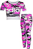 NEW KIDS Girls 'Adios' Camouflage Military Army Crop Top & Legging Set Age: 7-13 Years (9-10 ans, Neon Pink)