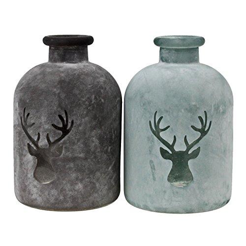 2 Glasflaschen mit Hirschdekor 16cm Flasche Dekoflasche Glas Shabby Vintage Deko Bad Weihnachten Winterdeko