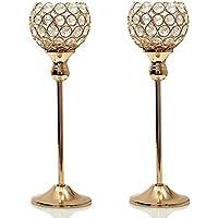 VINCIGANT Juego de candelabros de cristal, para decoración del hogar, cristal, dorado, 2pcs 35cm