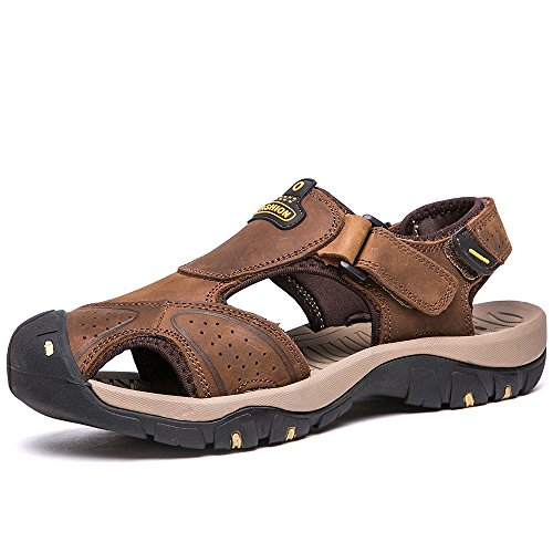0fc4ba5a8ab94a VILOCY Mens Summer Sports Sandals Leather Closed-toe Outdoor Sandals Trekking  Shoes Light Brown UK9.5