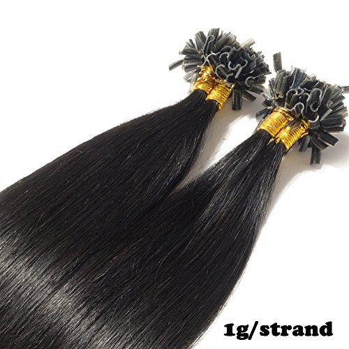 Extension capelli veri cheratina 1 grammo per ciocca 50g/pack u tip remy hair umani naturali lisci (45cm #1 jet nero)