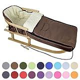BAMBINIWELT KOMBI-ANGEBOT Holz-Schlitten mit Rückenlehne & Zugseil + universaler Winterfußsack (108cm), auch geeignet für Babyschale, Kinderwagen, Buggy, aus Wolle UNI (braun)