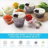 Homecare Mars Kitchen master 1.0 Tri Blades Vegetable Chopper - Beater with Convenient Pull Cord Mechanism attached Lid and BPA free Plastic Container - 400 ML [Black]