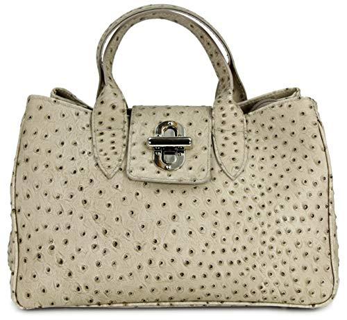 Belli Echt Leder Handtasche Damen Ledertasche Umhängetasche Henkeltasche in taupe Strauß Prägung - 36x25x18 cm (B x H x T) - Taupe Strauß