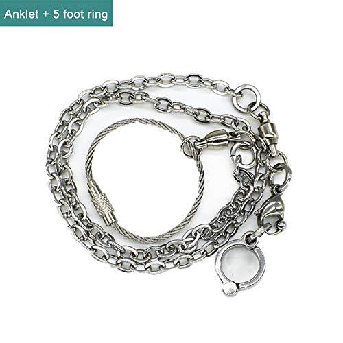 Ridecle Papagei Fußkette Edelstahl Fußkette Ring für Pet Bird Toys Silber