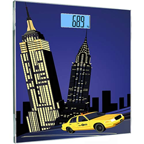 Ultra Slim High Precision Sensoren Digital Body Weight Scale City Gehärtetes Glas Personenwaagen, Wolkenkratzer und Taxi New York Thema American Downtown Scenic Skyline, Violett Blau Gelb Schwarz, B