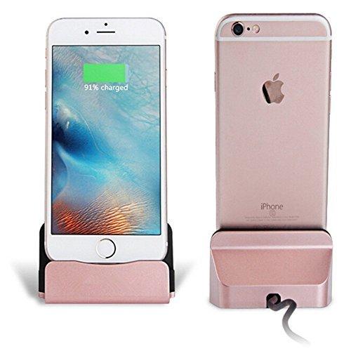 58a09270919 Eximtrade Cargador Dock Soporte para Apple iPhone 5/5s/6/6s/6 plus/6s  Plus/7/7 Plus, iPod (Oro Rosa)