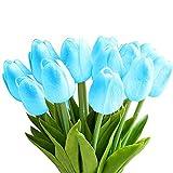StillCool Blumen Tulpen Künstliche mit Blättern für Hochzeits-Blumenstrauß Deko Blumen Tischdeko Blumendeko Kunstblumen in 7 Farben Blumendekoration (Blau, 6)