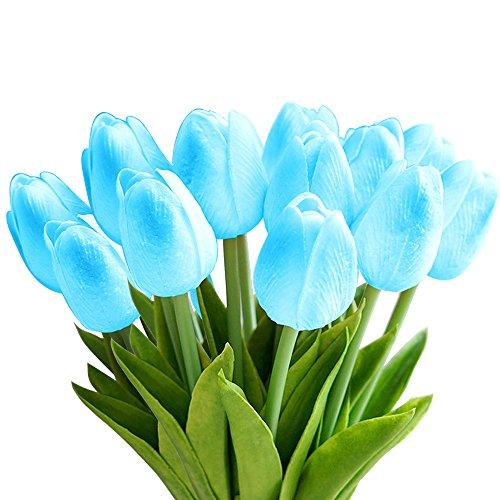 StillCool Blumen Tulpen Künstliche mit Blättern für Hochzeits-Blumenstrauß Deko Blumen Tischdeko Blumendeko Kunstblumen in 7 Farben Blumendekoration