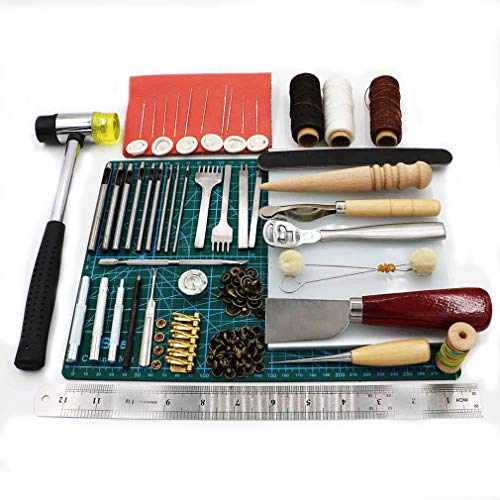 Malayas® 44pcs Kit Strumenti Pelle Strumenti di cucito Punteruolo Pelle Set Scultura di lavoro Leather Craft Punch Tools Kit Stitching Carving Working Sewing Saddle Groover