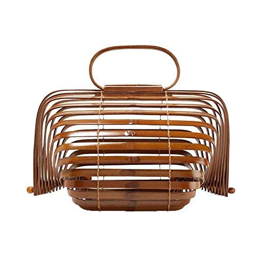 AIMERKUP Strandtasche Falten Handgemachte Vogelkäfig Bambus Tasche Gewebt Tasche Bambus Käfig Reise Handtasche Bambuskorb Tasche Aufbewahrungstasche