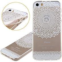 Funda para iPhone 5C, Case Cover para iPhone 5C, ISAKEN Transparente Ultra Slim Carcasa de Silicona TPU con Blanco Diseño Resistente a Arañazos Trasera Bumper Protección Case Cover Funda Cascara para Apple iPhone 5C (Flor Encaje)