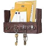 Comfify Post-Wandhalterung aus Holz - Rustikale Schlüsselaufbewahrung - Organizer für die Wand - Zeitschriftenhalter mit 4 Doppel-Schlüsselhaken - Braunes Wanddekor für den Eingangsbereich