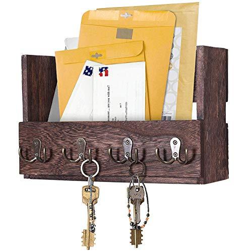 Comfify Post-Wandhalterung aus Holz - Rustikale Schlüsselaufbewahrung - Organizer für die Wand - Zeitschriftenhalter mit 4 Doppel-Schlüsselhaken - Braunes Wanddekor für den Eingangsbereich -