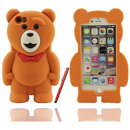 Klar modischen Design Netter Teddybär-Form Soft-Silikon-Schutzhülle case für Apple iPhone 6 / 6S Hülle 4.7 inch mit Touch-Screen-Stift braun