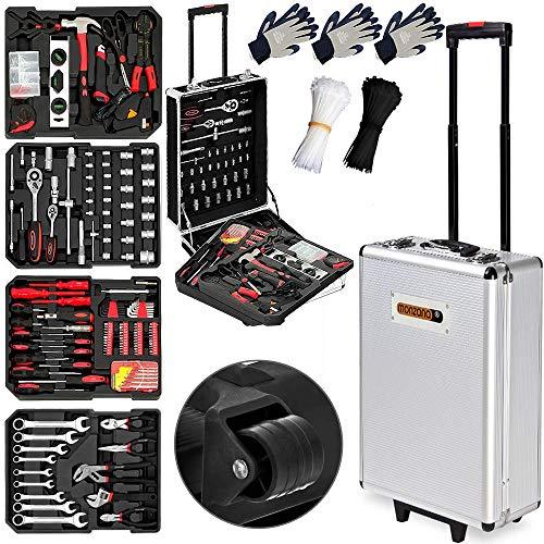 Monzana® Werkzeugkoffer XXL gefüllt Set 899tlg Qualitätswerkzeug Werkzeugkasten Werkzeugkiste Werkzeugtrolley silber