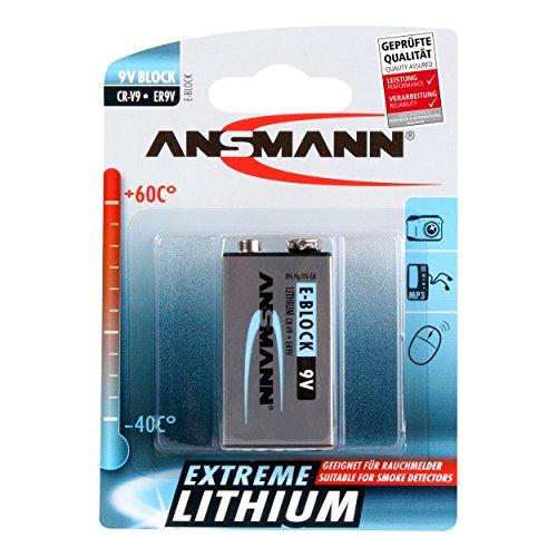 ANSMANN 9V Extreme Lithium Batterie speziell für Rauchmelder 9V E-Block ER9V CR-V9 1100mAh (700% mehr Power) High Energy