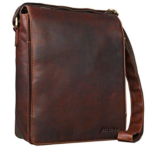 STILORD 'Lars' Vintage Umhängetasche Leder Herren für 13,3 Zoll Tablet MacBooks und iPad Schultertasche Herrentasche Messenger Bag Echtleder, Farbe:cognac - dunkelbraun