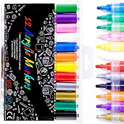 COASTAR Acrylic Paint Marker Pens, Acrylic Painter Medium Point Tip Marker 12 Colours Acrylic Marker Sets Permanent Pens for Rock Painting, Glass, Wood, Great for Beginners and Professional Artists