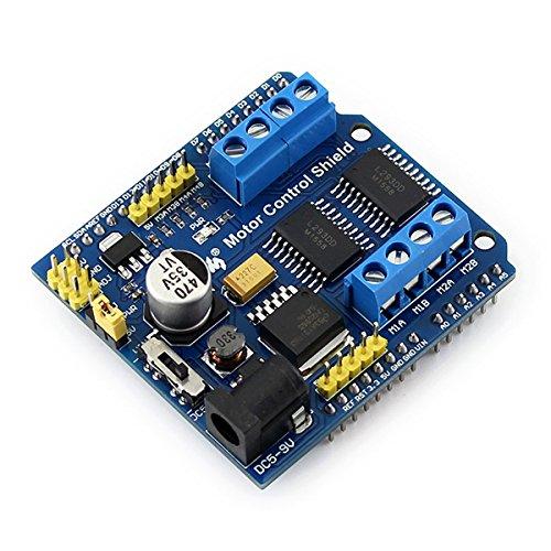 Shield controllo motori 2xL293D - Shield per Arduino (o compatibili) basata sul driver doppio H-bridge L293D in grado di pilotare 4 motori DC da 600 mA ciascuno o 2 motori passo-passo bipolari da 1,2 A