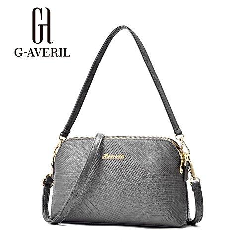 (G-AVERIL) Singolo sacchetto di spalla per le donne Crossbody Borsetta PU Impermeabile tracolla lunga / Body Bag Croce Moda con la Catena per Partito / Shopping / grigio