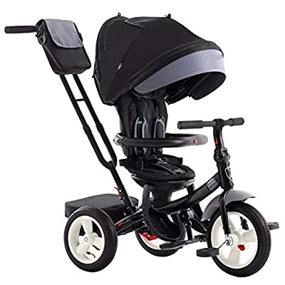 JYY Kids Tricycle 4-in-1 Baby Trike Tricycle with Push Handle/Wheel Clutch/Rotating and Reclining Seat for Children to Sleep in, black-49.5 * 80 * 101.5cm