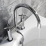 Moderno grifo de ducha con mango de cruz cromado para bañera y bañera, diseño de palanca