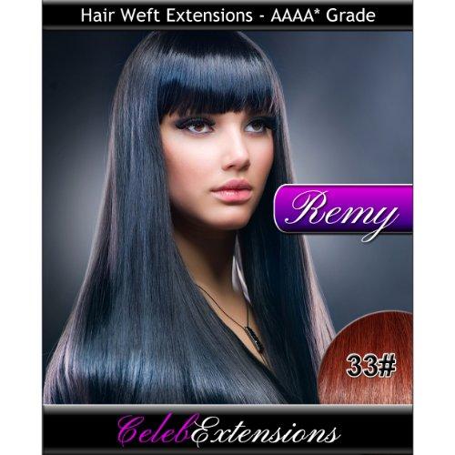 40,6 cm 33 # Cuivre Remy 100% humains indiens Trame Extensions de cheveux. lisse et soyeux Tissage 1,8 m Poids 100 g. Haute qualité Grade AAAA. par Celebextensions
