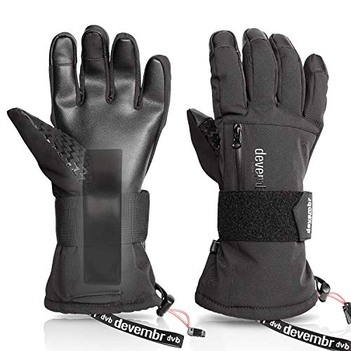 devembr Skihandschuhe Herren&Damen, wasserdichte Snowboard-Handschuhe mit abnehmbaren Handgelenkschutz&3M Thinsulate Insulation,Schneehandschuhe mit langlebigem PU-Material,Touchscreen (Schwarz,S)