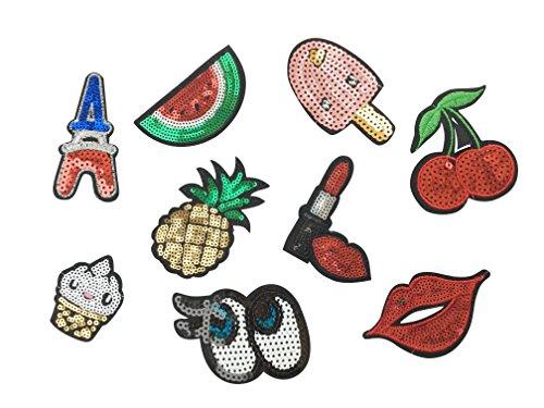 Pailletten Patch Sticker 9 Stück Aufnäher Kleidung Patch Lippfenstift Ananas Kirschen Cup Cake Kuss und Mehr