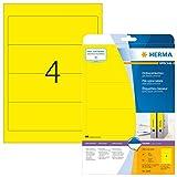 Herma 5096 Farbige Ordnerrücken gelb blickdicht, breit/kurz (192 x 61 mm) 80 Ordner Etiketten, 20 Blatt A4 Papier matt, bedruckbar, selbstklebend