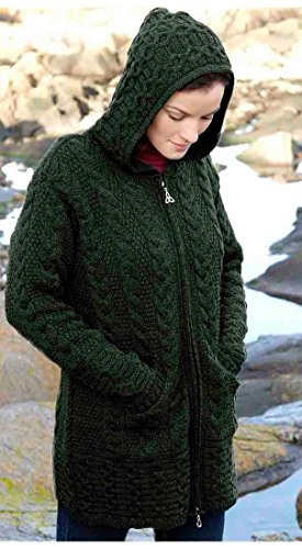 100% Merino Wool Aran Crafts Ladies Zip Zig Zag Jacket Green (Zip-cardigan Wool)