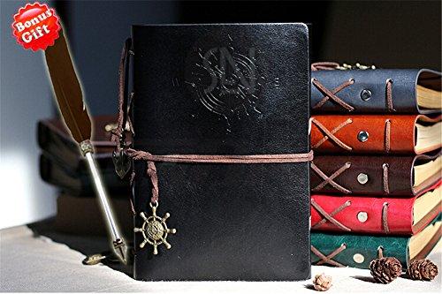 Vintage Retro Leder Tagebuch [Schreiben fribs Arbeiten of Life] + Bonus Feder Pen Reise Notizblock Notizbuch blanko Tagebuch Geschenk für Herren Damen Studenten–inpay, schwarz, 1