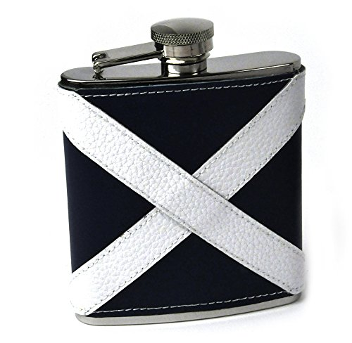 Scotland Flag Deluxe Leather Scottish Hip Flask -